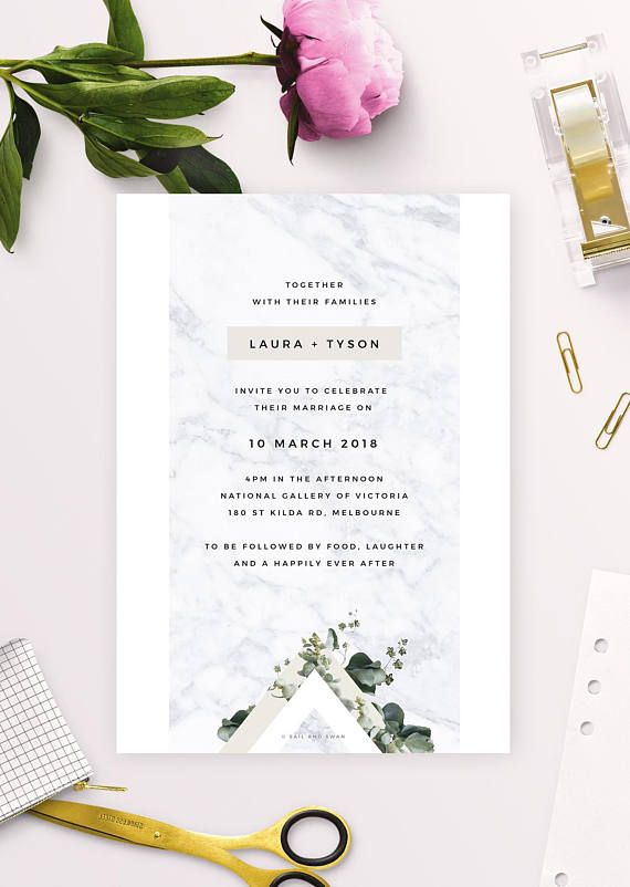 Stunning Marble And Green Botanical Wedding Invitations Modern Neutral
