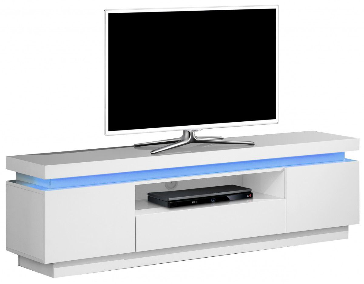 R Sultats De Recherche D Images Pour Meuble Tv Blanc Laqu Led  # Meuble Tv Plateau Pivotant
