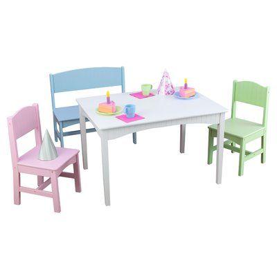 Kidkraft Nantucket Kids 4 Piece Play Table And Chair Set Table