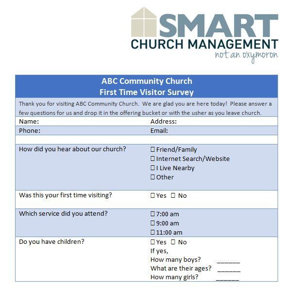 First Time Church Visitor Survey Example  Church Ideas