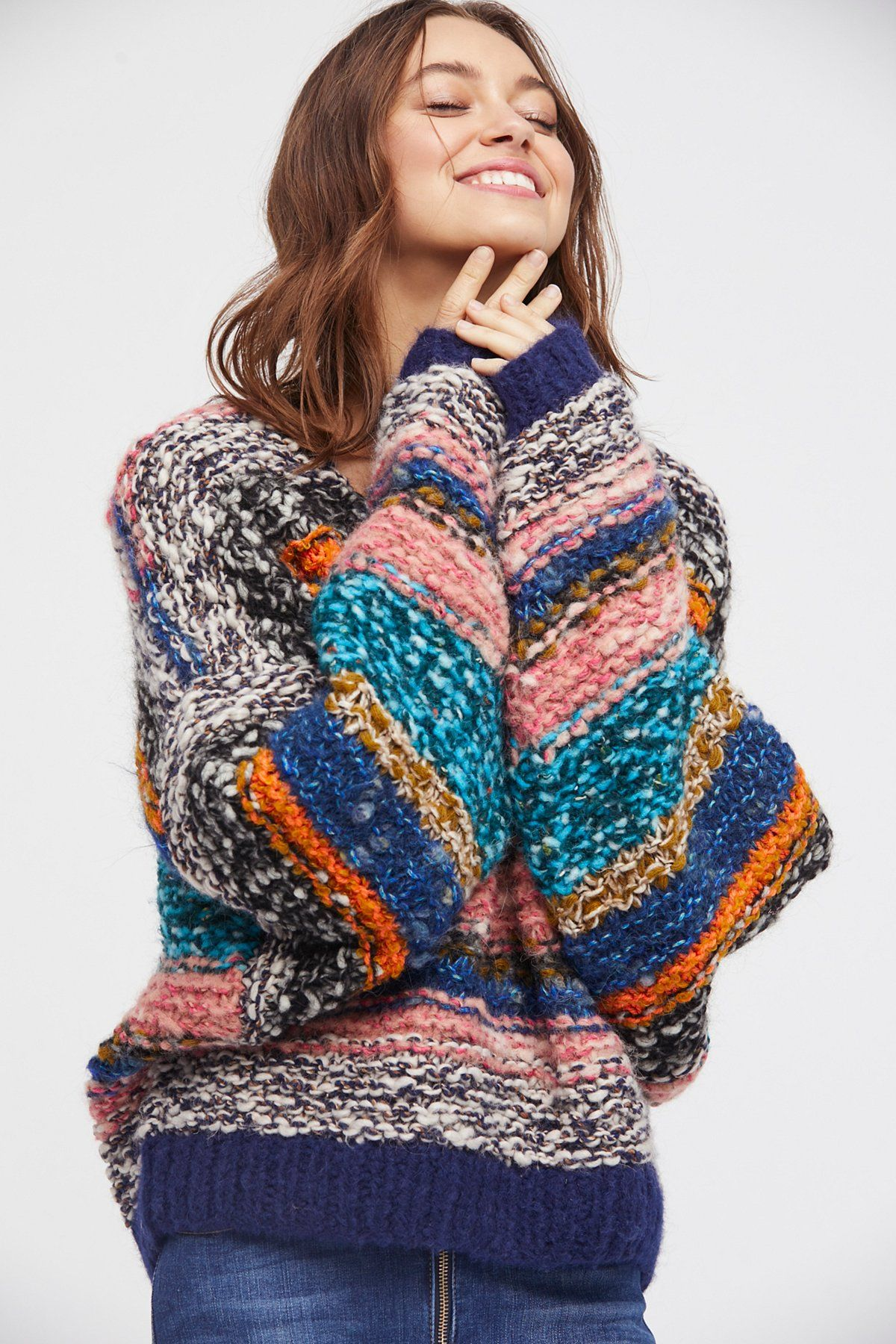 Multi Combo Crazy Stripe Pullover at Free People Clothing Boutique ...