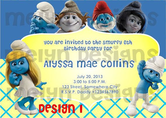 Printable Smurfs Invitation Card By Melyndesigns On Etsy 12 00