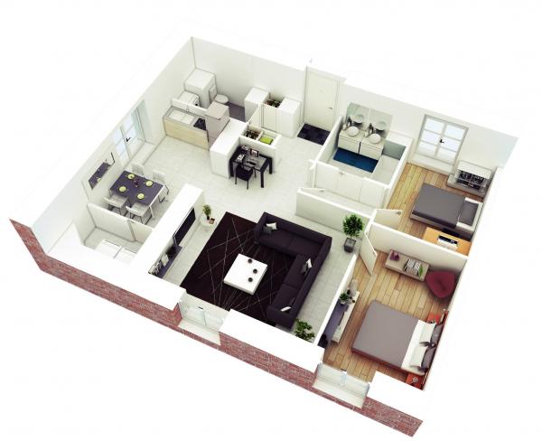 25 More 2 Bedroom 3d Floor Plans Simple House Plans House Floor Plans Home Design Floor Plans