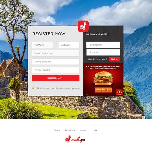 Create an awesome login/signup page for the free email