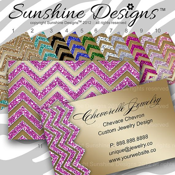 Jewelry Business Card Branding Unique Chevron By SunshineDesigns - Jewelry business cards templates free