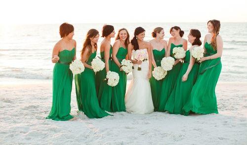 Green Bridesmaid Dresses Beach Wedding