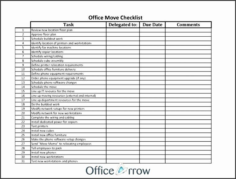 Office Move Checklist Excel Elegant 10 Internal Fice Move Checklist Template Move Checklist Checklist Template Printable To Do Lists
