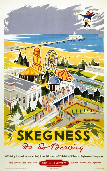 Lincolnshire Skegness Vintage Travel Skegness Is So Bracing British Rail By Kenneth Steel C 19 With Images Retro Travel Poster Vintage Travel Posters Travel Posters
