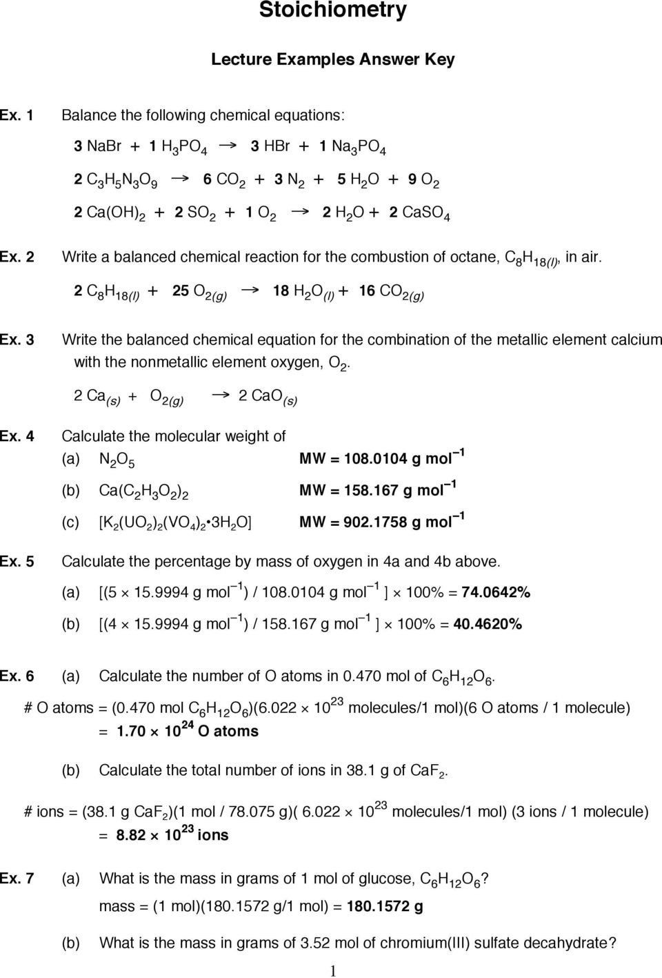 Stoichiometry Worksheet Answers Key Stoichiometry Lecture Examples Answer Key Pdf Fr In 2020 Persuasive Writing Prompts Kids Worksheets Printables Rational Expressions