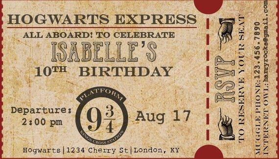Harry Potter Birthday Party Hogwarts Express Train Ticket