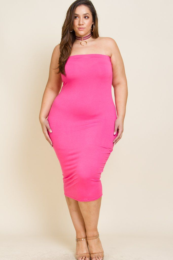 a98affaece6 Plus Size Solid Color Tube Top Dress Model wearing 3X (Royal Fuchsia) Model  wearing 2X (Orange) Made in USA