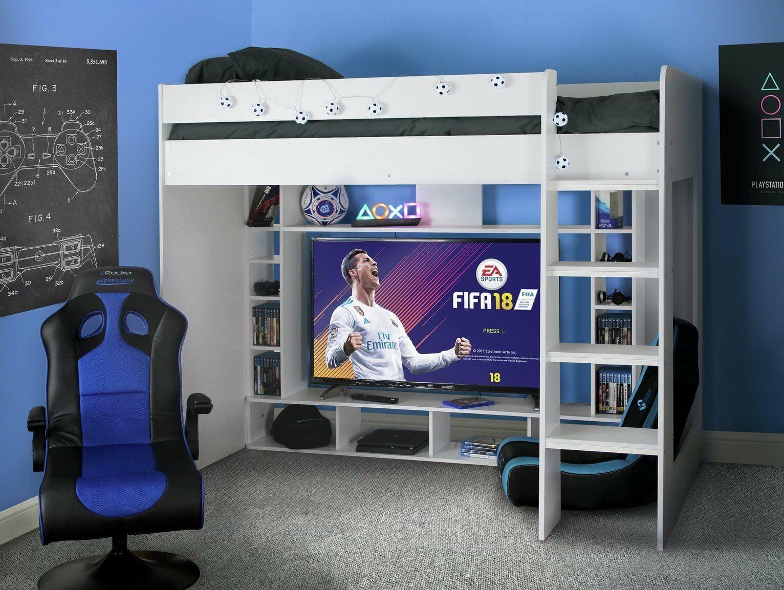 What Kid Wouldn T Love This Gaming High Sleeper Bed Frame On Clearance Argos Ebay Https Www Ukdealsan In 2020 Boy Bedroom Design Kids Loft Beds Tween Boy Bedroom