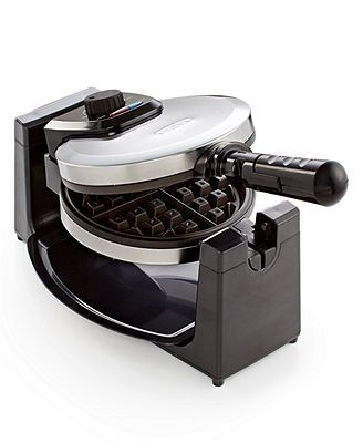 13991 Polished Stainless Steel Rotary Waffle Maker Black