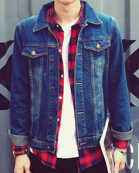 40f25657724 Double Pockets Buttons Design Slimming Shirt Collar Long Sleeve Modish  Denim Jacket For Men