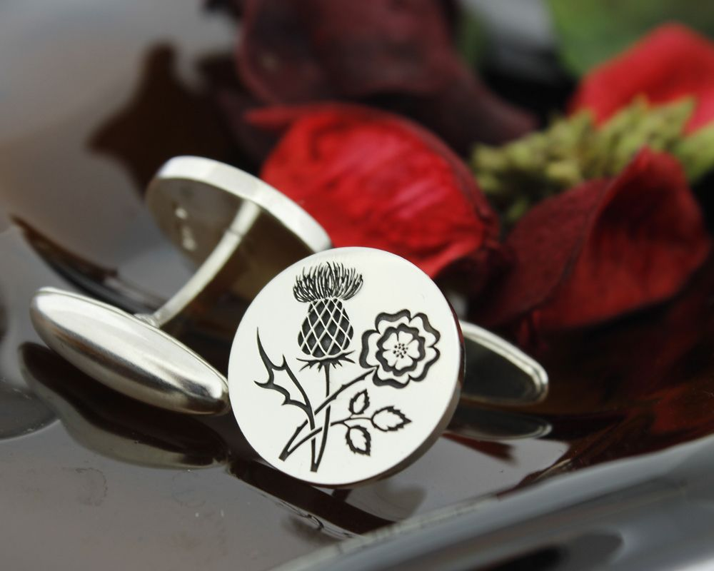 ENGLISH Rose SCOTTISH Thistle Silver Engraved Cufflinks | Scottish ...
