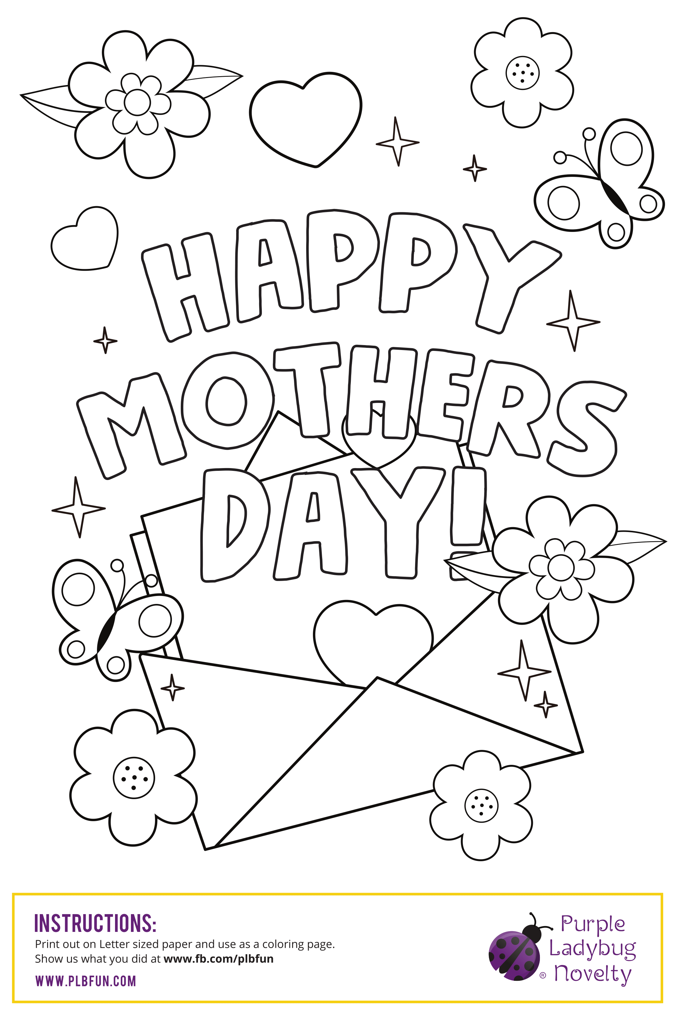 Free Mother S Day Letter Coloring Page Printable By Purple Ladybug Novelty Use Mother S Day Colors Mothers Day Card Template Mothers Day Crafts For Kids