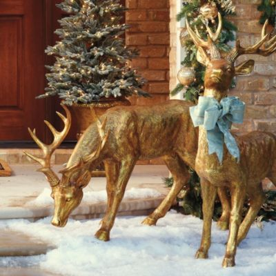 Feeding Antique Gold 4 Deer Frontgate Outdoor Christmas Decorations Outdoor Christmas Christmas Porch