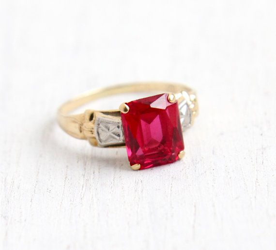 Vintage 10k Yellow White Gold Ruby Ring Size 4 3 4 Art Deco 1940s Hallmarked Psco Plainville Stock Antique Rings Vintage White Gold Ruby Ring Art Deco Ring