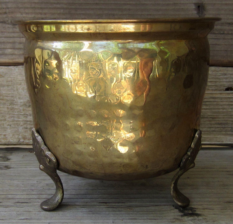 Vintage Hammered Brass Footed Bowl