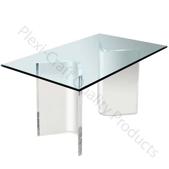 This pair of Lucite V pieces are the base of a table. The table top that you source could be glass as shown, or a piece of other material (like wood or granite)!  Plexi-Craft