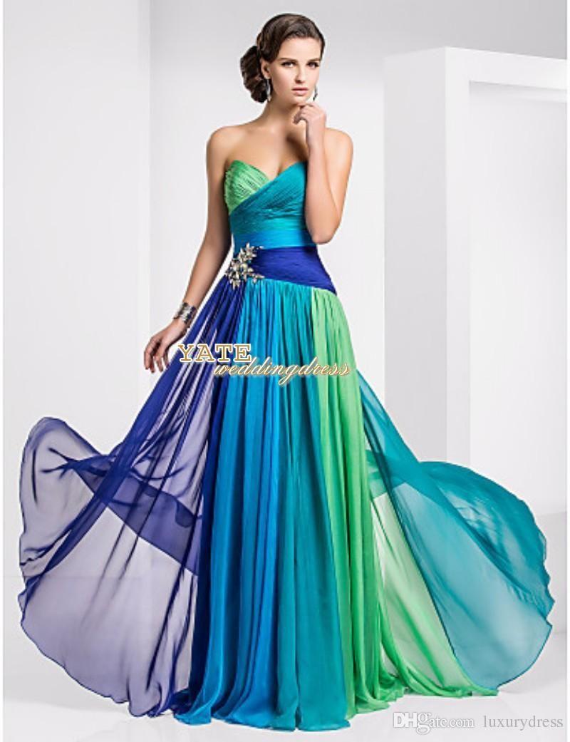 Cheap prom dresses strapless empire chiffon ruffles multi color lace