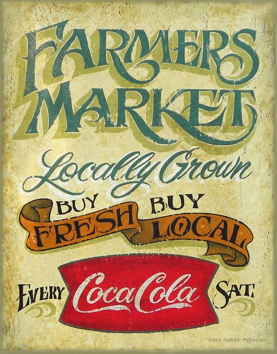 Vintage Farmers Market Sign Farmers Market sign, f...