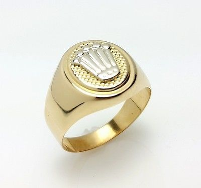 Fabulous MEN uS K SOLID YELLOW GOLD CROWN RING rolex ring crownring