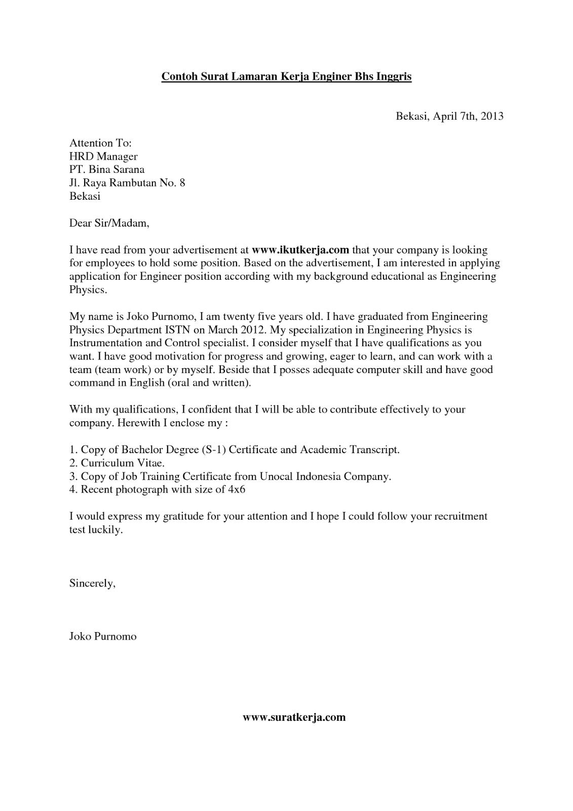 Contoh Surat Lamaran Kerja Dan Cv Dalam Bahasa Inggris Best Resume Examples