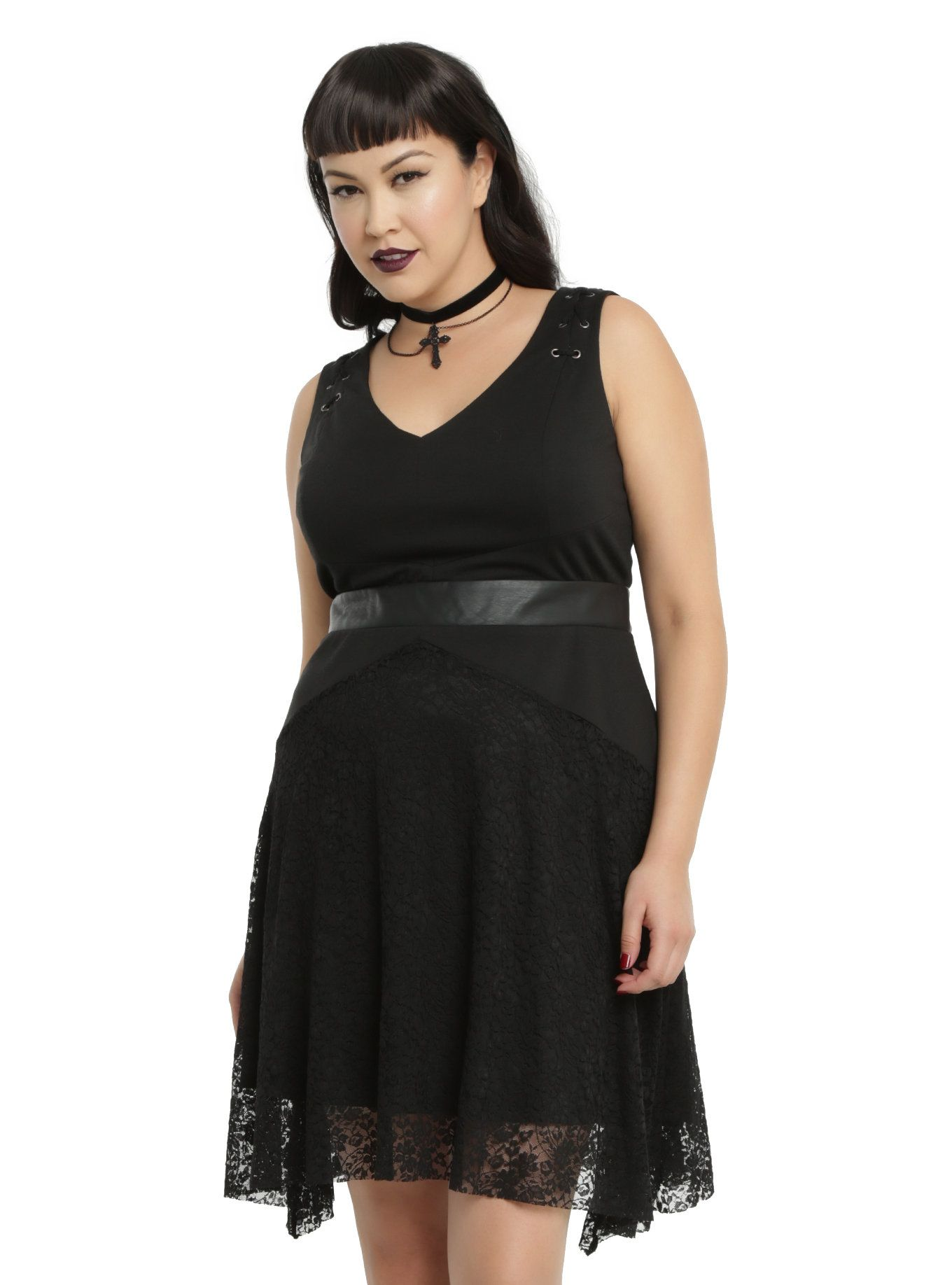 Black laceup tank sleeve fit flare dress plus size