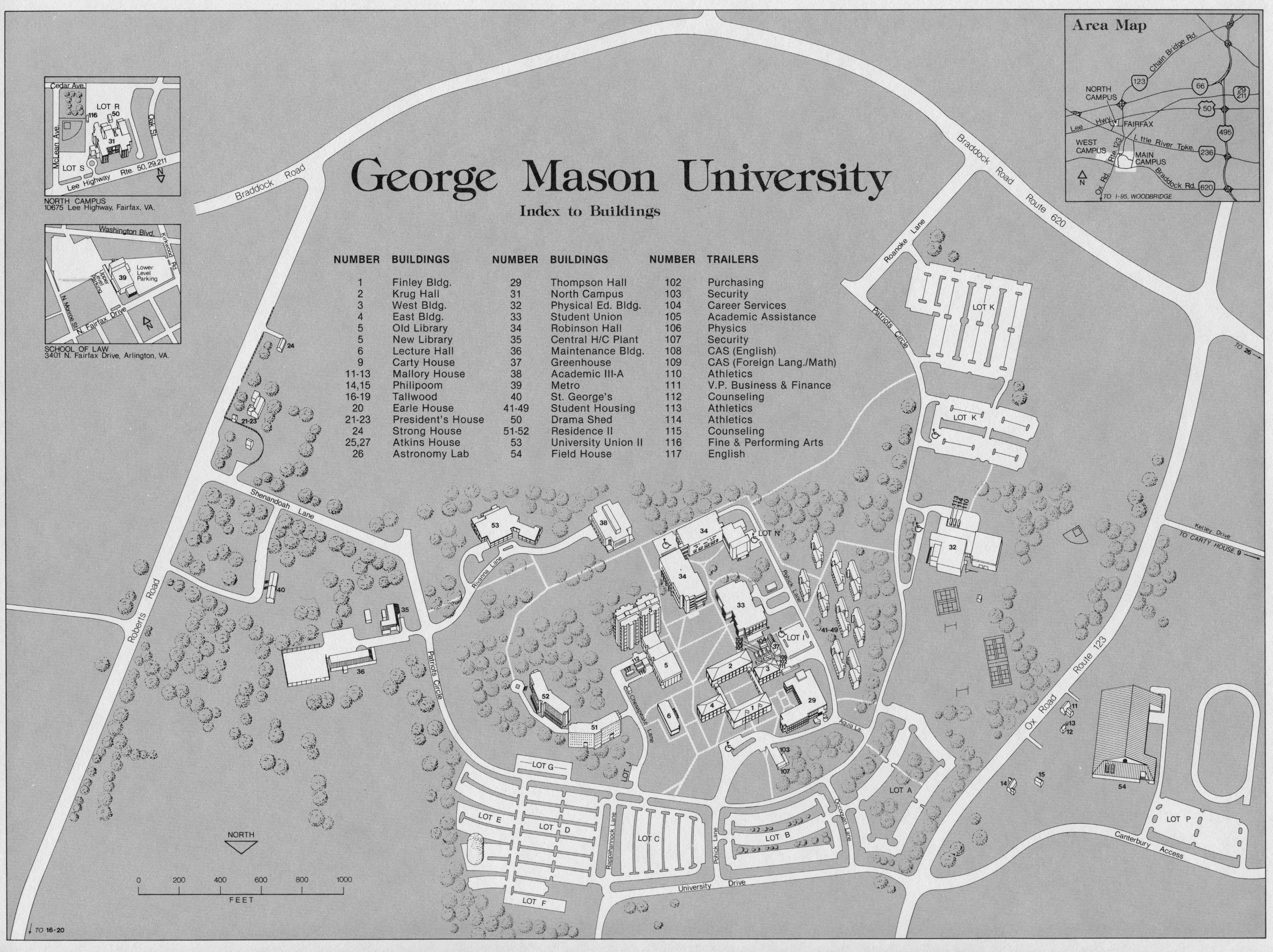 George Mason University, campus map, ca.1982 | Growing Up ...