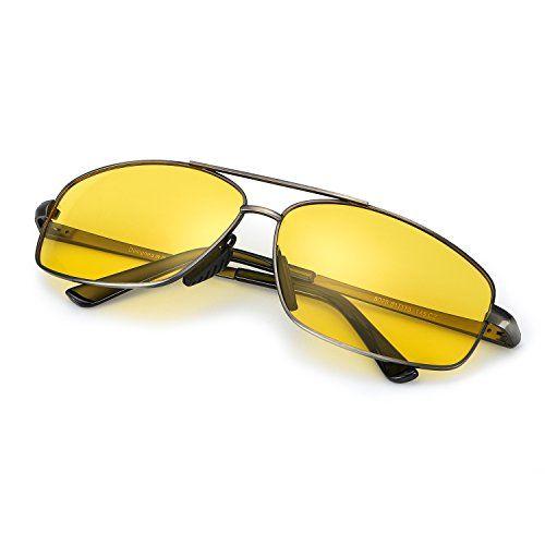 ELIVWR Lunette Jaune Conduite de Nuit pour Homme polarisé Anti Eblouissement  Armature en Métal Sunglasses, 3bd842383506
