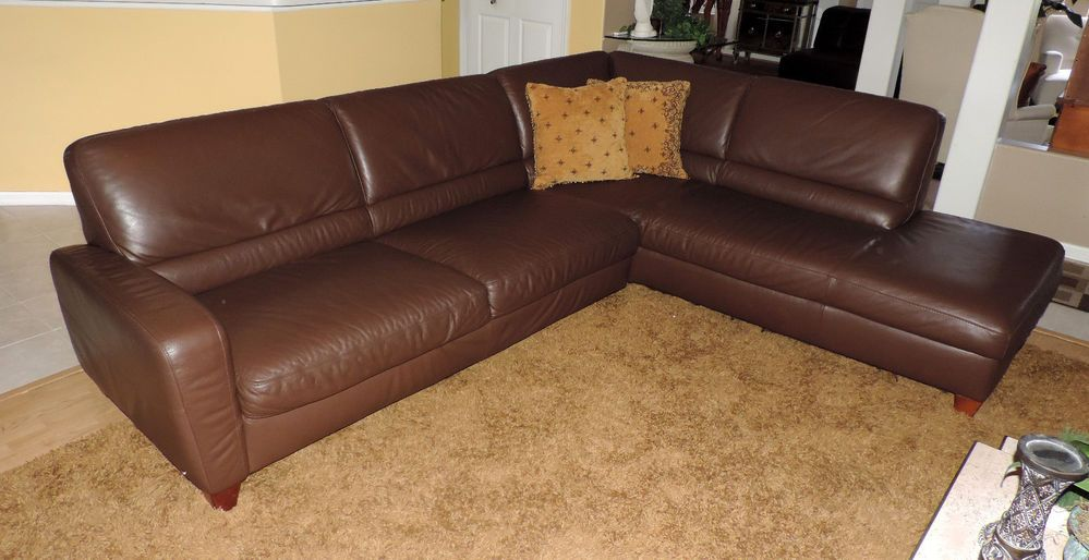 Natuzzi Italsofatwo Piece Chocolate Leather Sectional We
