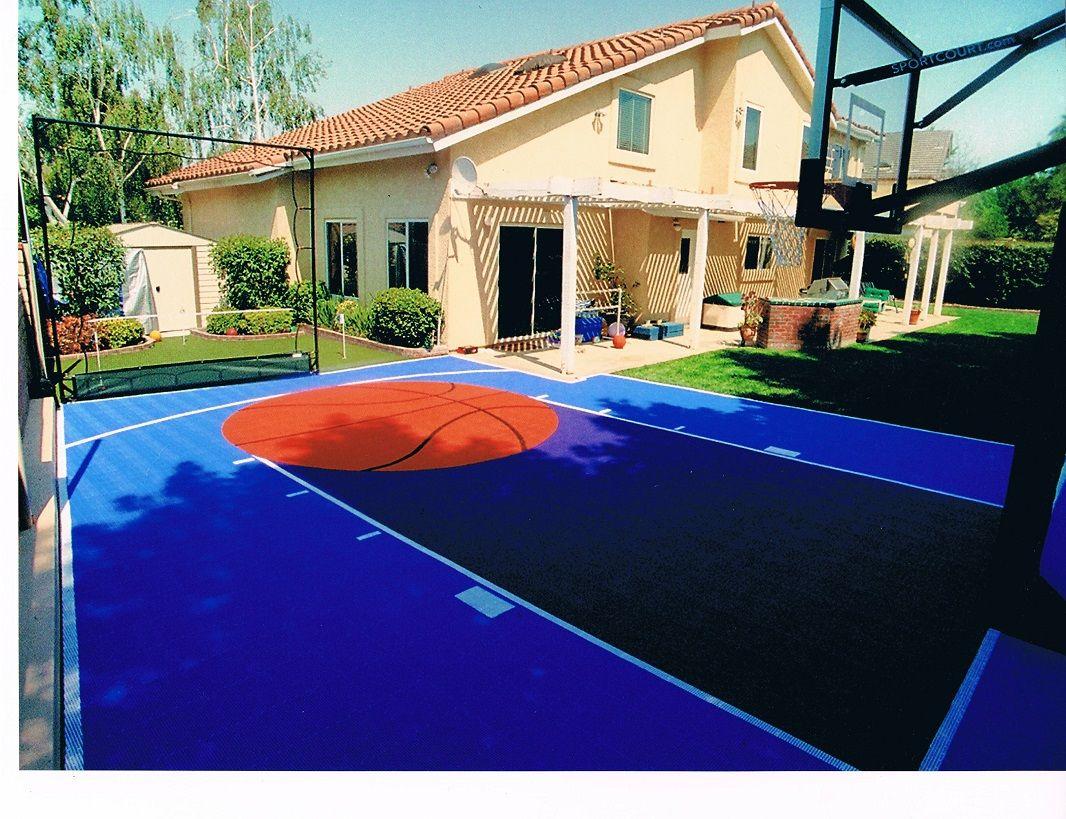 Sport Court blue Backyard Basketball Half Court, Perfect