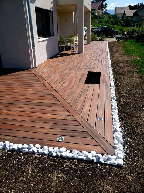 Terrasse bois composite et galets Plus LAMBRINES Pinterest - comment poser des lames de terrasse