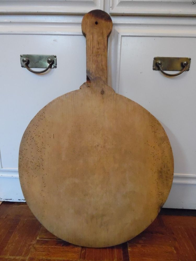 29in Total Length Large Primitive Antique Round Wood Bread Board