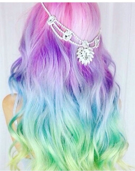 grad hair pastel rainbow