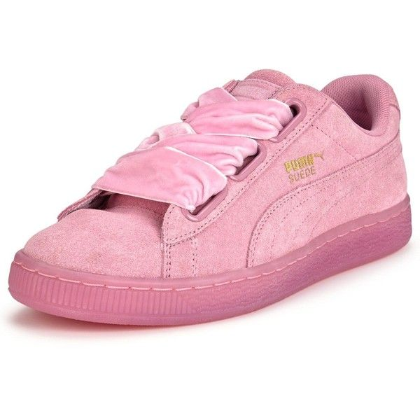 2759afd65a Puma Suede Heart Reset (4.770 RUB) ❤ liked on Polyvore featuring shoes, bow  tie shoes, pink ballet shoes, heart shoes, fleece-lined shoes and tie shoes