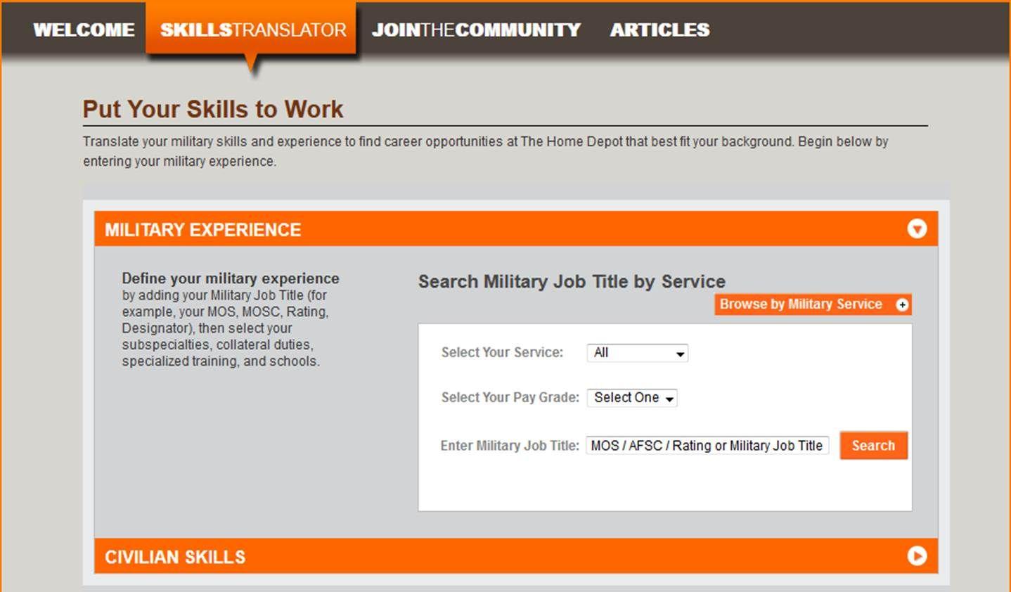 Home Depot Military Skills Translator http//www