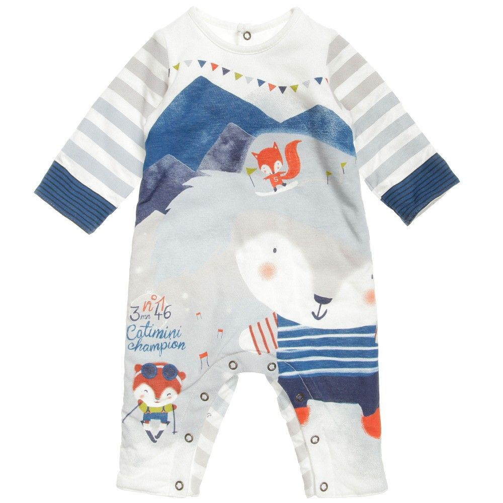 Catimini cotton jersey all in one romper suit with a slightly padded feel suitable for a boy or a girl. It fastens around the legs and the length of the back for easy dressing and changes and has a cute animal and snow sports theme printed on the front. <br /> <ul> <li>100% cotton jersey (soft and padded)</li> <li>100% polyester padding</li> <li>Machine wash (30*C)</li> </ul>