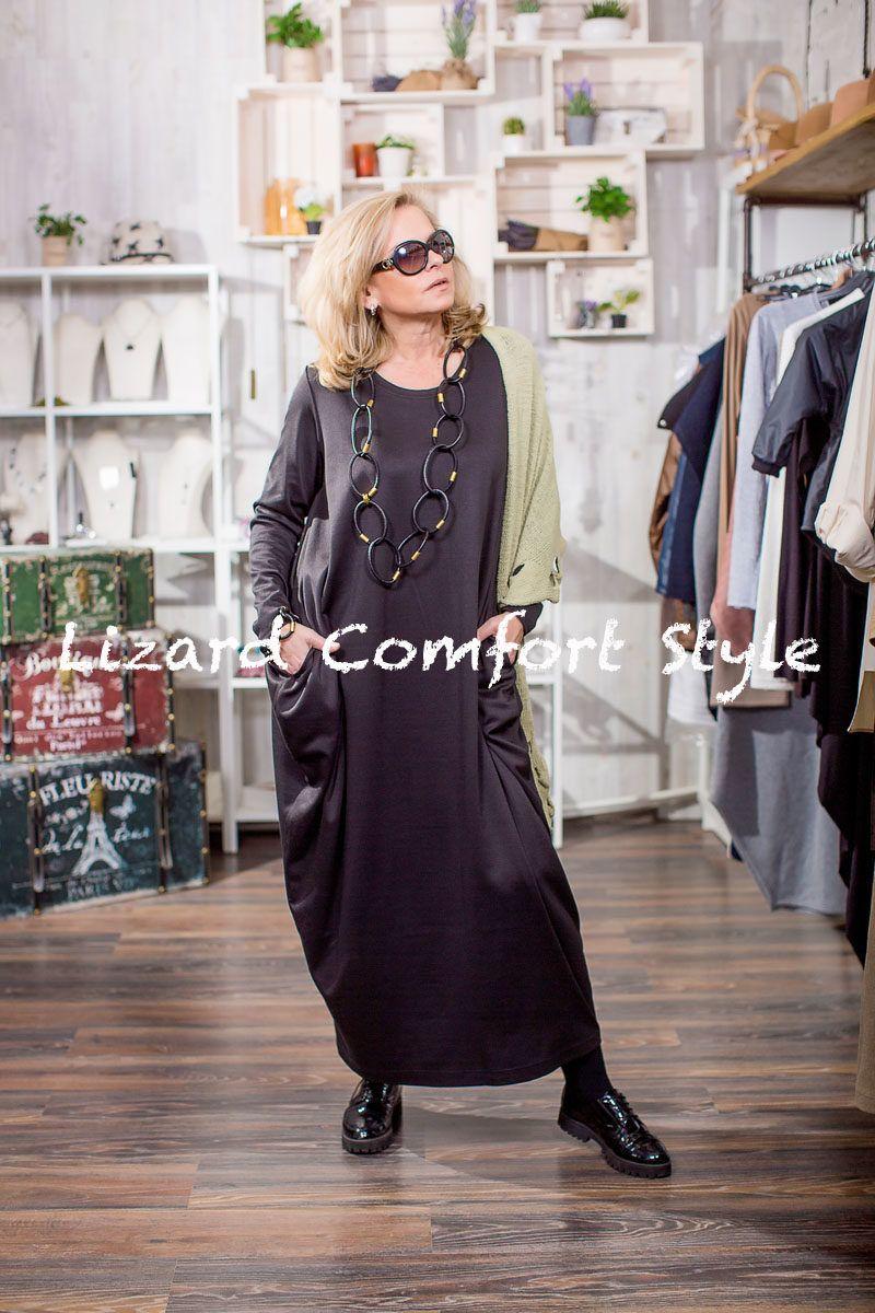 ЯВ0889: Платье ромб ЧЕРНОЕ из вискозы, размер over size до 54, Lyuna.  Шаль из хлопка, GalaGolansky. Украшение, Италия