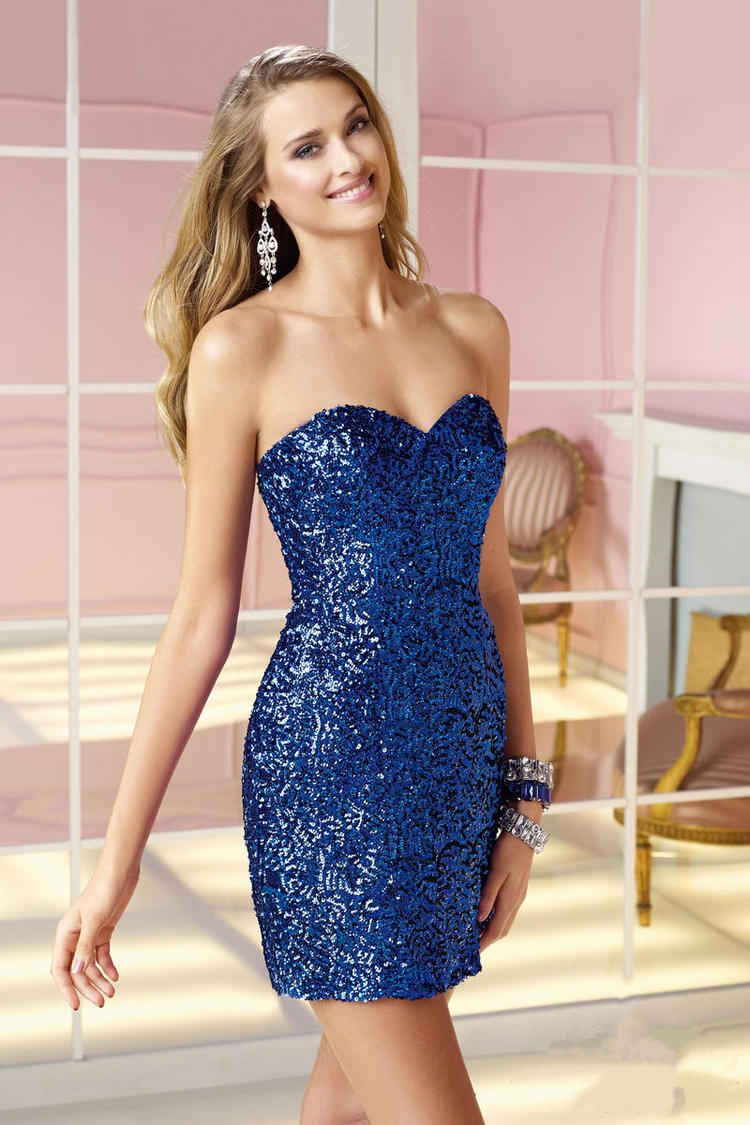 Sweetheart short blue chiffon sheath column homecoming dress with