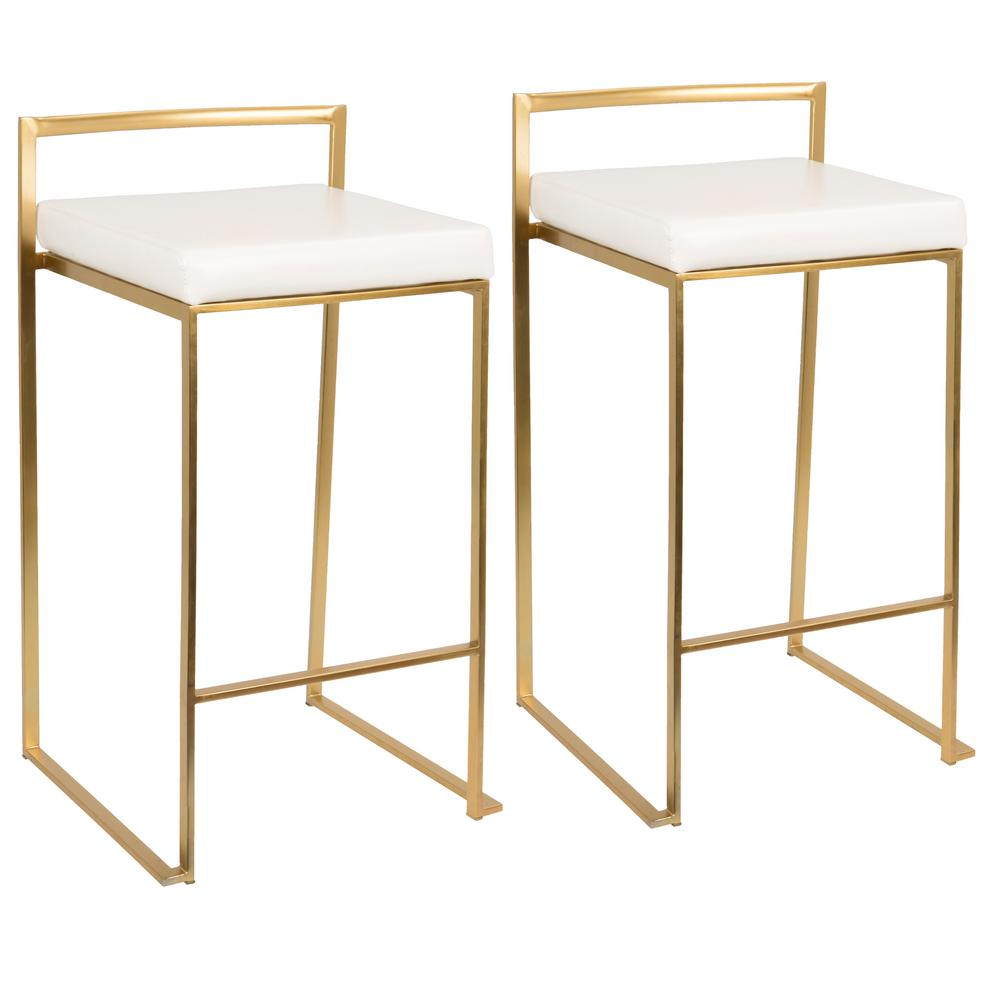 Excellent Lumisource Fuji Gold And White Counter Stool Set Of 2 Andrewgaddart Wooden Chair Designs For Living Room Andrewgaddartcom