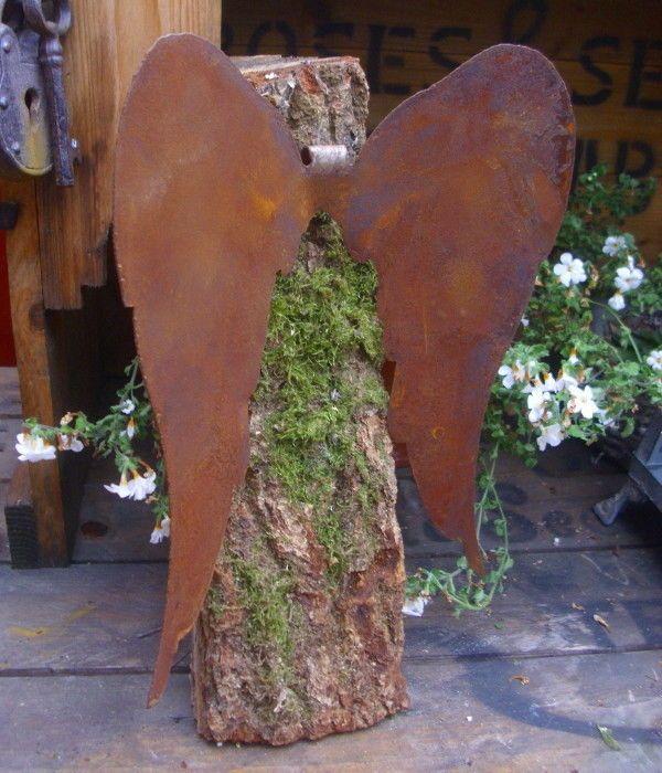 Engelfl gel metall rost winterdeko engel fl gel for Gartendeko engel rost