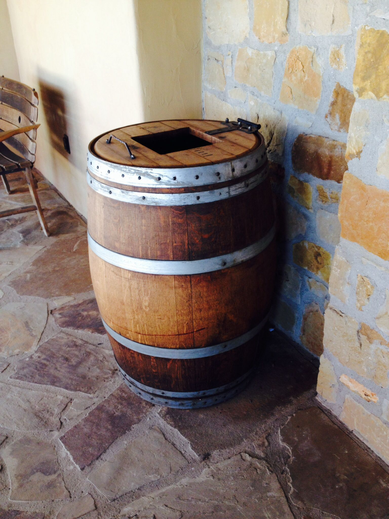 Wine Barrel Trash Can   Hinged Top.