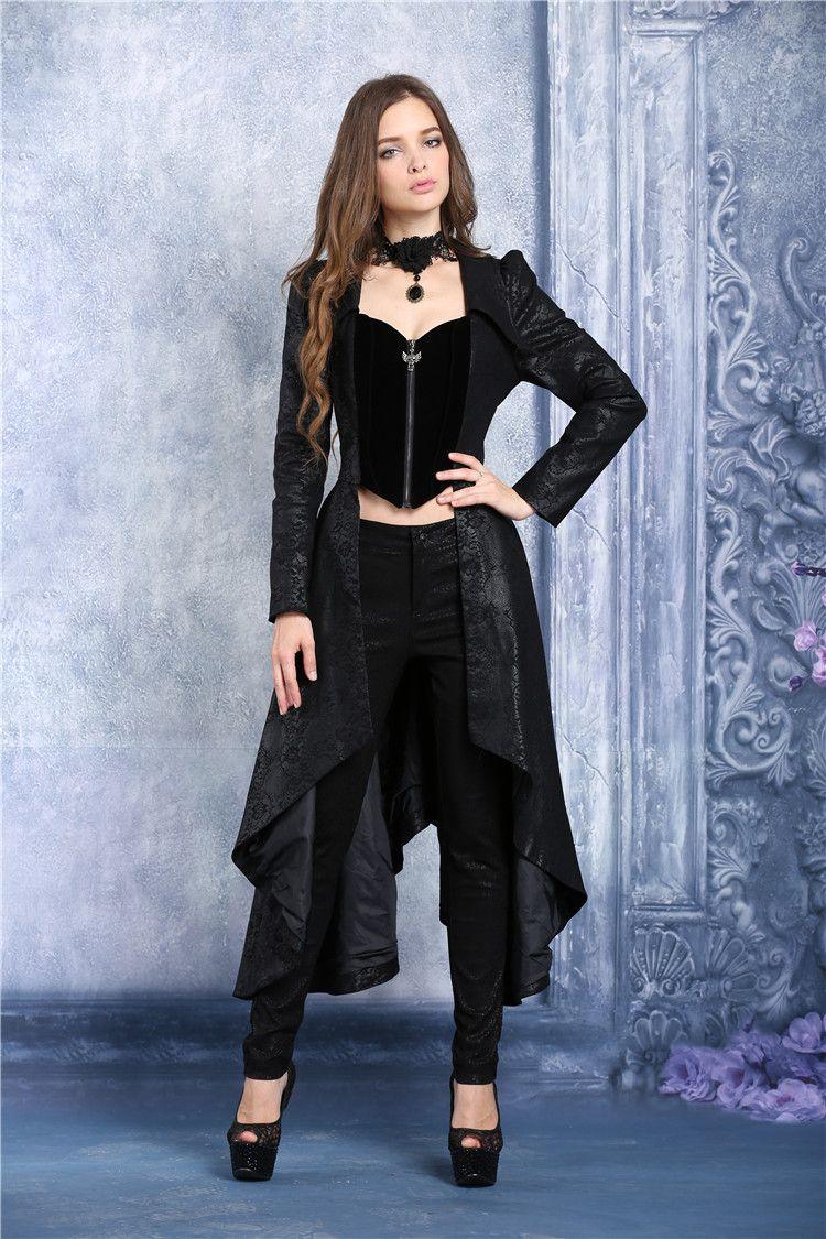 Longue veste noire velours loup dentelle aristocrate vampire
