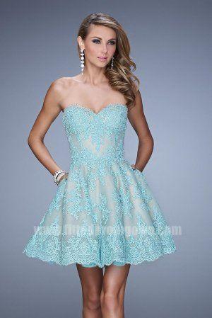 2015 Mint La Femme 21446 Flirty Short Lace Prom Dress with Pockets ...