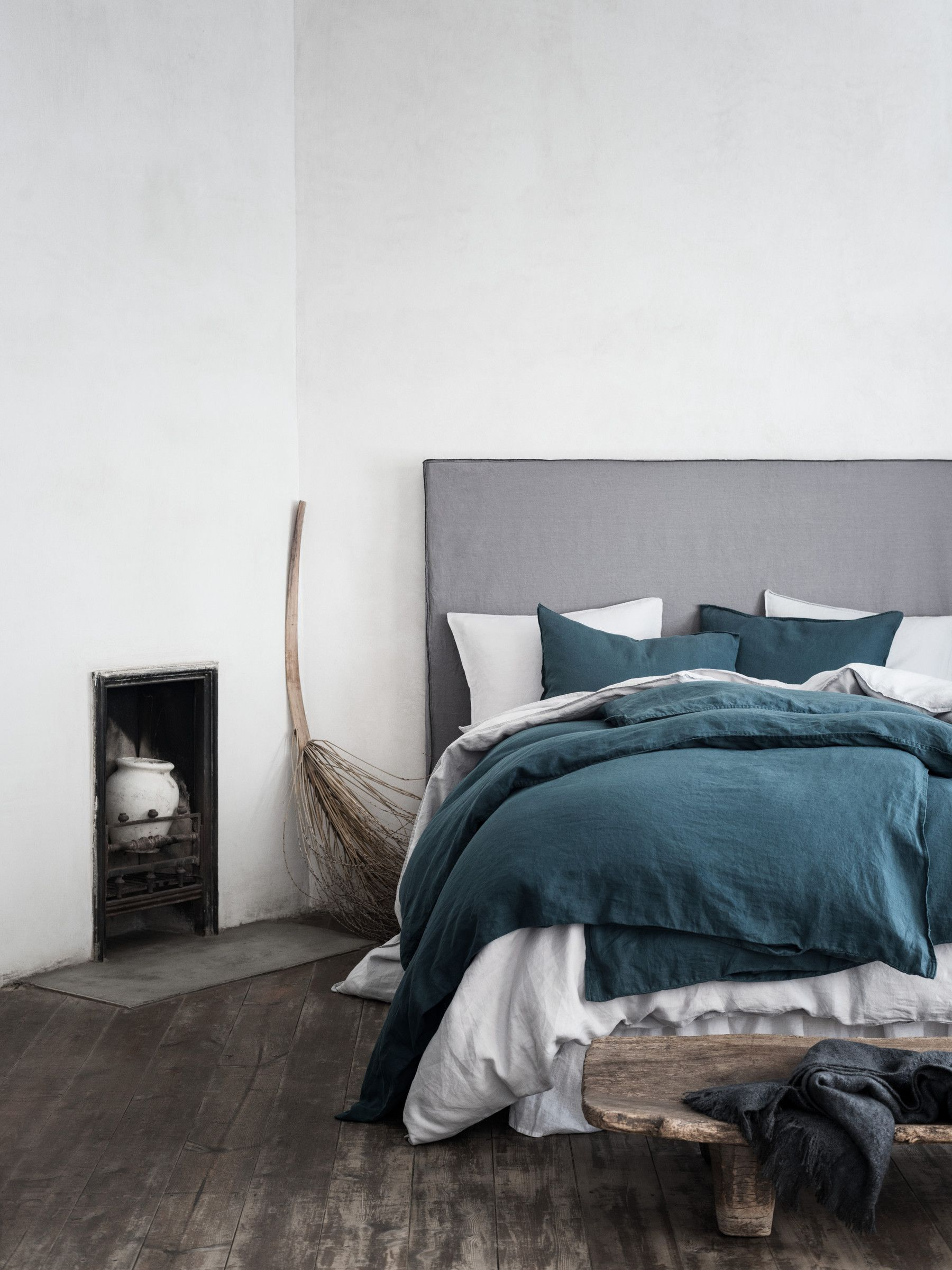 Bedroom With Blue Linen Bedding  See My Favourite New