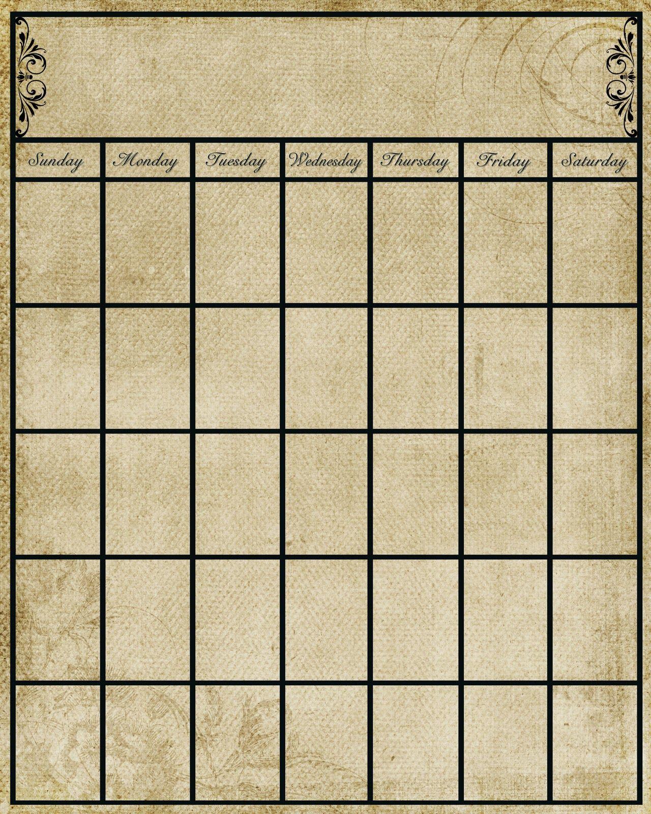 write in calendar template