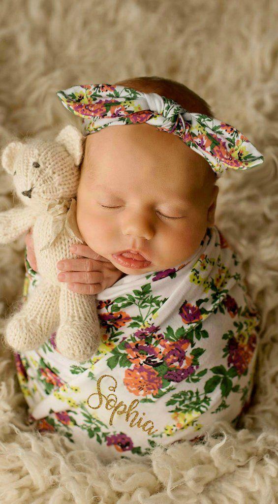 ff5016b7feb Personalized Baby Blanket Baby Girl Blanket Personalized Swaddle Blanket  Floral Monogrammed Baby Blanket and Headband Set