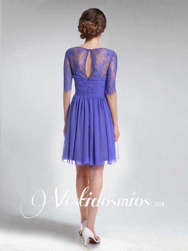 Vintage Vestido Corto de Fiesta con Encaje Mangas | vestidos ...